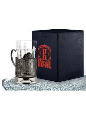 Набор для чая никелированный с чернью 65 лет (подстаканник + стакан футляр) Кольчугинъ. Цвет: серебристый