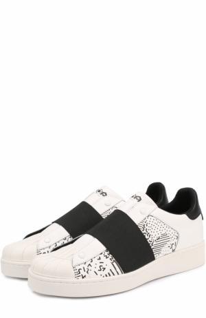 Кожаные кеды без шнуровки с текстильной вставкой MOA. Цвет: черно-белый