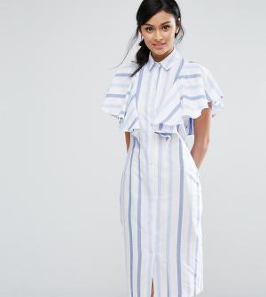 Closet London Платье-рубашка в полоску с оборкой. Цвет: темно-синий