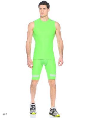 Майка спортивная Adidas. Цвет: зеленый