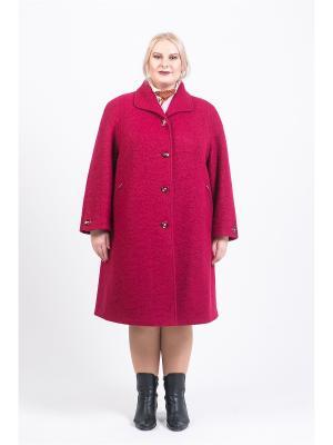 Пальто 60905А Trevery. Цвет: малиновый