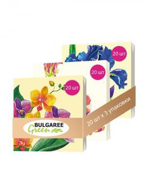 Набор Садовые Цветы из 3 упаковок трехслойных салфеток с ярким принтом, 3х20шт Bulgaree Green. Цвет: желтый