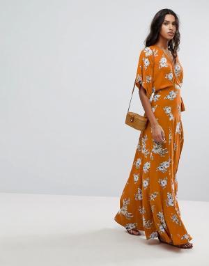 Faithful the Brand Платье макси с цветочным принтом Faithfull. Цвет: оранжевый