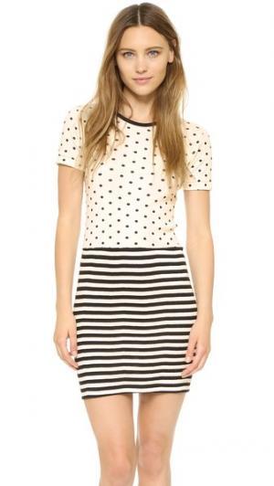 Комбинированное мини-платье с округлым вырезом Edith A. Miller. Цвет: черный/натуральный горошек и полоска