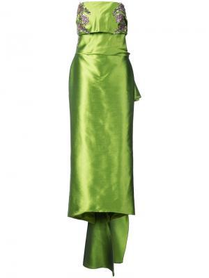 Длинное платье без бретелей с драпировкой Marchesa. Цвет: зелёный