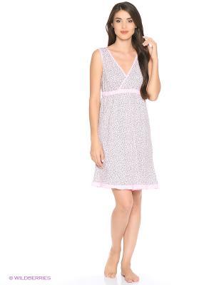 Сорочка ночная женская MARSOFINA. Цвет: розовый, светло-серый