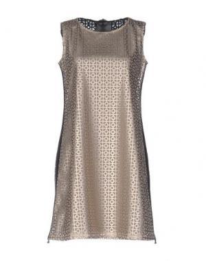 Короткое платье ES'GIVIEN. Цвет: бежевый
