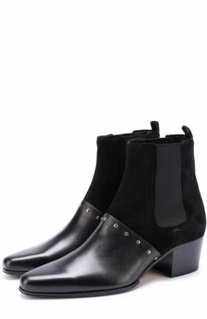Комбинированные ботинки с заклепками Balmain. Цвет: черный
