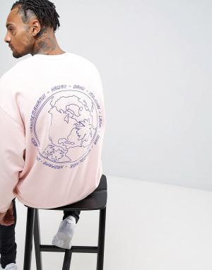 ASOS Свободный свитшот с принтом. Цвет: розовый