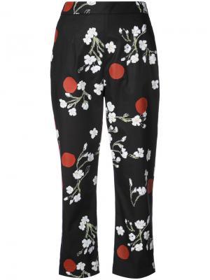 Укороченные брюки с цветочным узором Isa Arfen. Цвет: чёрный