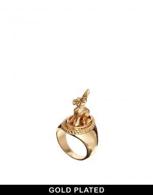 Позолоченное кольцо с зайцем And Mary. Цвет: золотой