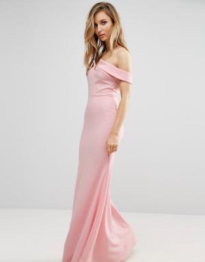Club L Платье макси с открытыми плечами и подолом годе Bridesmaid. Цвет: розовый