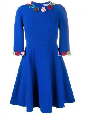 Платье с цветочной аппликацией Mary Katrantzou. Цвет: синий