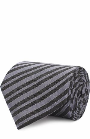 Шелковый галстук в полоску Lanvin. Цвет: черный