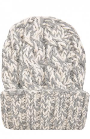 Вязаная шапка из шерсти Eugenia Kim. Цвет: светло-серый