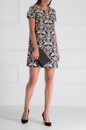 Жаккардовое платье HOSS INTROPIA. Цвет: синий, белый