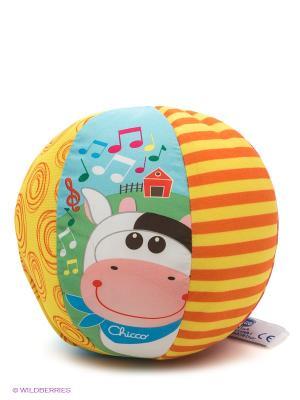 Игрушка мягкая Мячик музыкальный с коровкой CHICCO. Цвет: оранжевый