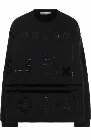 Хлопковый свитшот свободного кроя с круглым вырезом Valentino. Цвет: черный