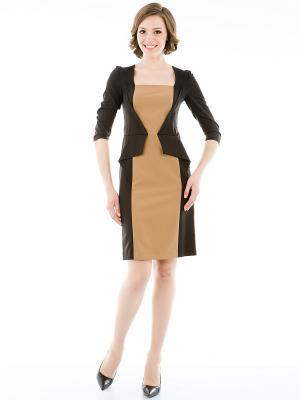 Платье Levall. Цвет: темно-коричневый, горчичный