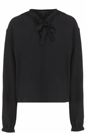 Шелковая блуза с воротником аскот Rag&Bone. Цвет: черный