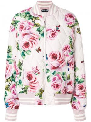 Куртка-бомбер с принтом Dolce & Gabbana. Цвет: розовый и фиолетовый