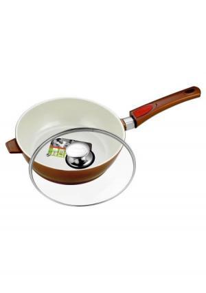 Сковорода со стеклянной крышкой CALVE. Цвет: коричневый