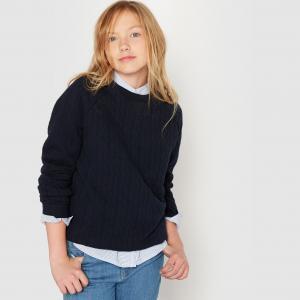 Пуловер из мольтона с узором косы, 10-16 лет La Redoute Collections. Цвет: серый меланж