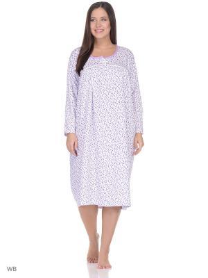 Ночная сорочка lawiggi. Цвет: фиолетовый, белый