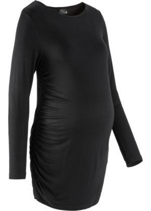 Длинная футболка для беременных (черный) bonprix. Цвет: черный
