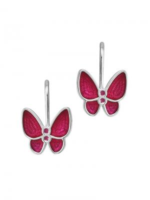 Детские сережки с эмалью Бабочка KU&KU. Цвет: малиновый