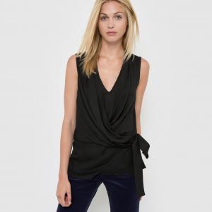 Блузка без рукавов с V-образным вырезом драпировкой MOLLY BRACKEN. Цвет: черный