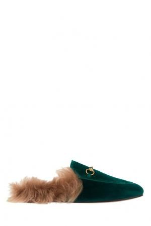 Бархатные слиперы Gucci. Цвет: зеленый
