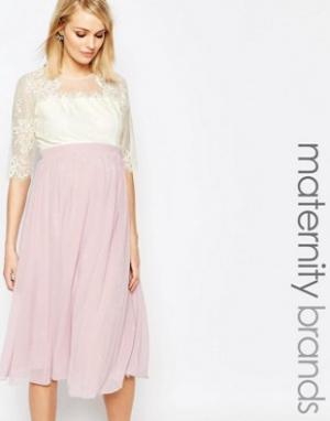 Little Mistress Maternity Платье миди для беременных с кружевным лифом. Цвет: мульти