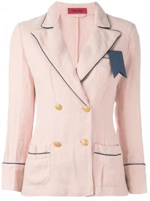 Contrast trim double breasted blazer The Gigi. Цвет: розовый и фиолетовый