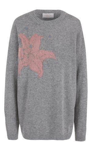 Пуловер свободного кроя с цветочным принтом Tak.Ori. Цвет: серый