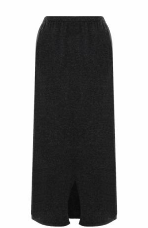 Однотонная шерстяная юбка-миди Tegin. Цвет: темно-серый