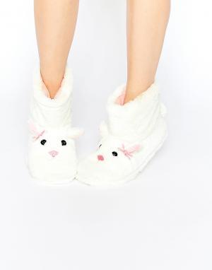 Totes Меховые ботинки‑слиперы с дизайном кролика Furry. Цвет: кремовый