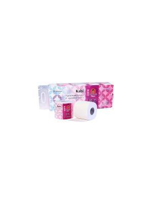 Бумага туалетная Kabi с ароматом Ириса, 10 р/упак Maneki. Цвет: розовый