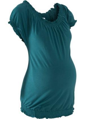 Мода для беременных: футболка с вырезом-кармен (сине-зеленый) bonprix. Цвет: сине-зеленый