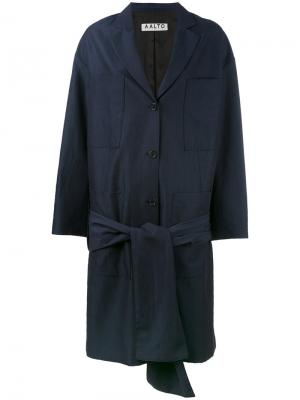 Пальто миди с поясом Aalto. Цвет: синий
