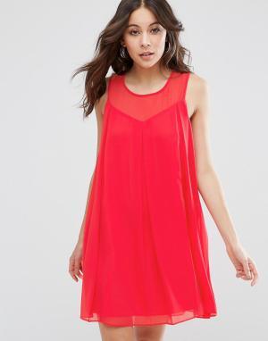 BCBG MaxAzria Цельнокройное платье с лифом сердечком. Цвет: розовый