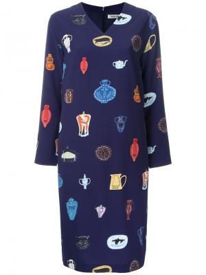 Платье с принтом ваз Taro Horiuchi. Цвет: синий