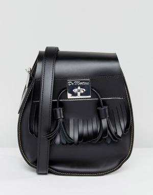 Dr Martens Черная сумка-седло с кисточками. Цвет: черный