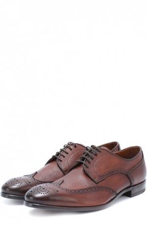 Кожаные дерби с брогированием H`D`S`N Baracco. Цвет: коричневый