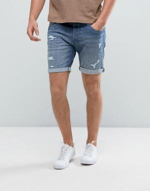 Selected Homme Джинсовые шорты с рваной отделкой и заплатками. Цвет: синий