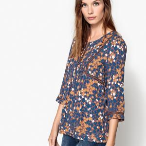 Блузка с круглым вырезом и рукавами 3/4 SEE U SOON. Цвет: каштановый / синий