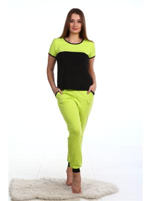 Спортивный костюм-футболка и брюки на манжетах NAGOTEX. Цвет: зеленый, черный