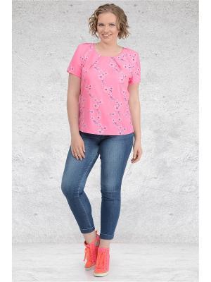 Блузка Мари-лайн. Цвет: розовый, белый