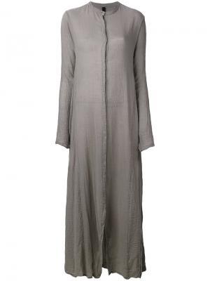 Длинное платье-рубашка с воротником-стойкой Poème Bohémien. Цвет: серый