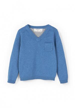 Пуловер Mango Kids. Цвет: синий